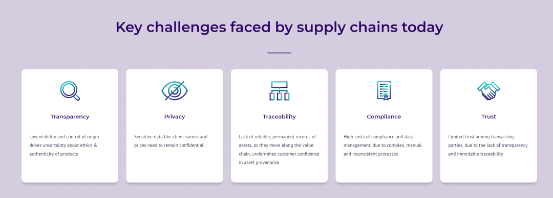 Diamond Blockchain: A screenshot from the Tracr website, listing the problems of supply chain