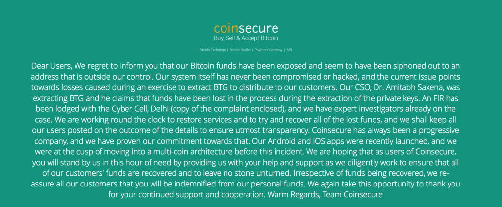 how did coinsecure lose all the bitcoins