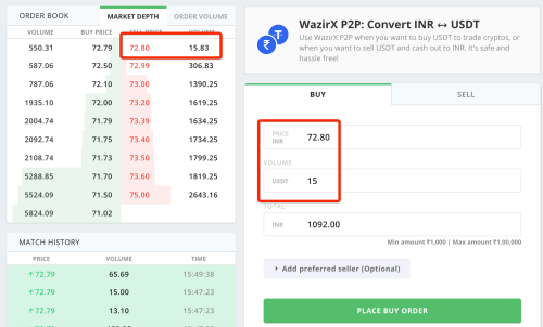 buying USDT on wazirX p2P