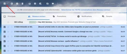 supprimer l'ensemble des emails Gmail