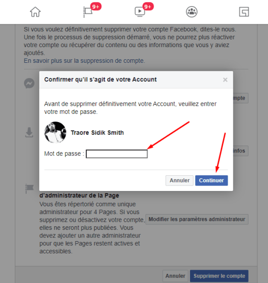 suppression de compte Facebook