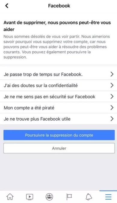 poursuivre la suppression du compte Facebook sur téléphone