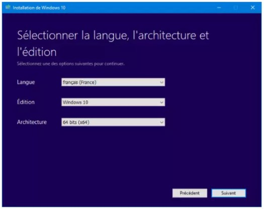 installation de Windows 10 avec clé usb bootable