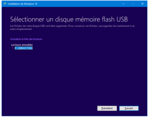 créer une clé usb bootable de windows 10