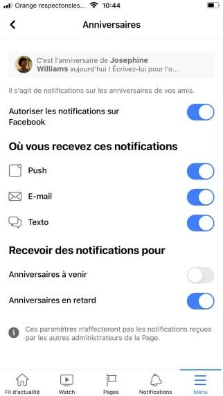 notifications anniversaire facebook