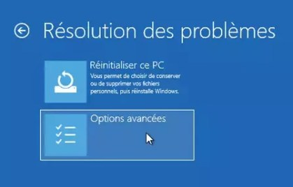 Options avancées Windows