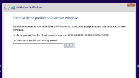 clé d'installation de Windows