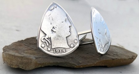 Barber Quarter 90% Silver Cuff Links 3 Coin Guitar Pick, Coin Guitar Picks