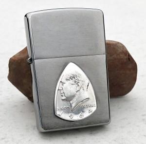 Zippo Soft Flame Lighter with 1964 90% Silver US Half Dollar 1 Coin Guitar Pick, Coin Guitar Picks