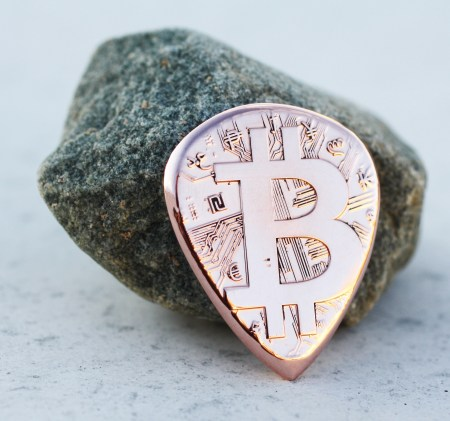 Bitcoin Copper Round Coin Guitar Pick, Coin Guitar Picks