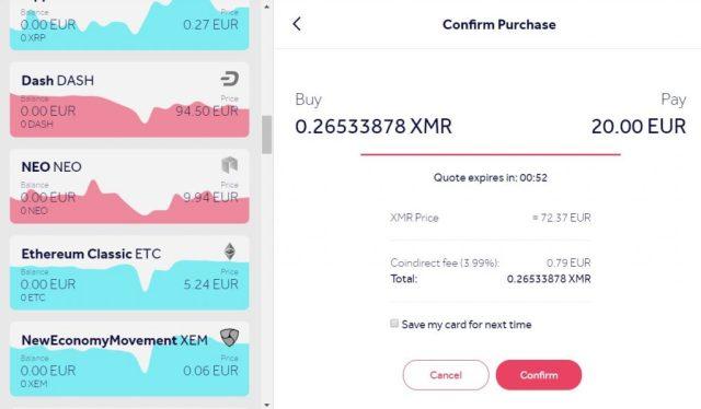 Buy Monero XMR credit card