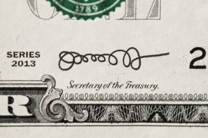 A mock-up of what Jack Lew's original signature would look like on a one-dollar note