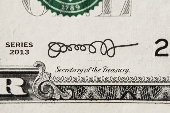 A mock-up of what Jack Lew's signature would look like on a one-dollar note