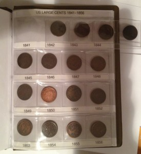 A page of Scott's Large cent collection in a Gardmaster album