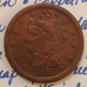 1853 Braided Hair Half Cent Obverse