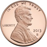 Obverse of the 2013-S Lincoln proof cent. Lincoln's portrait, designed by Victor D. Brenner in 1909,  is the longest running design of any United States coin.