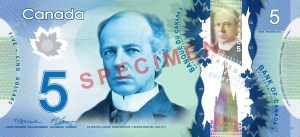 Canada's $5 Polymer banknote was issued on Nov 7, 2013