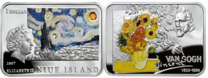 Niue Island 2007 Great Painters - Vincent Van Gogh $1 Rectangular Silver Dollar with Color and Zircon Crystal Gemstones