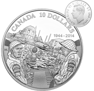 Canadian $10 Commemorative of the 70th Anniversary of D-Day featuring the obverse portrait of King George VI, the reigning monarch at the time of the invasion.