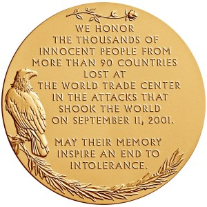 Reverse of the New York Fallen Heroes Medal designed and engraved by Phebe Hemphill