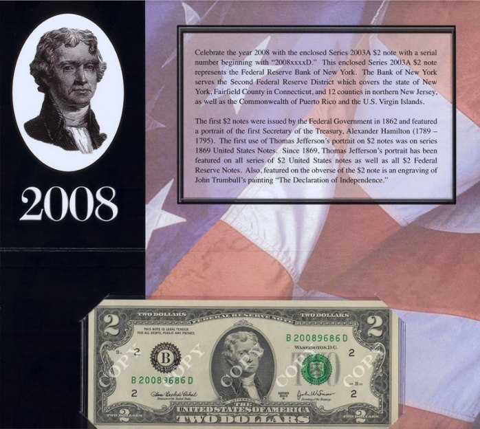 2008 $2 Single Note from the New York Fed