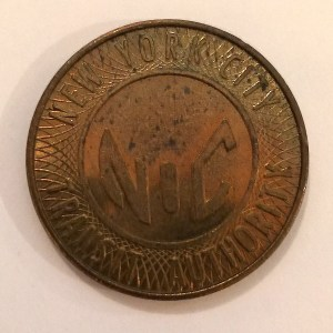 "Large Brass ""NYC Token"" used from 1980-1985 with partial ""Y"" (obverse)"