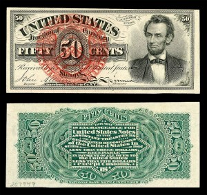 Fourth issue: 50-cents, Abraham Lincoln (Fr. #1374)