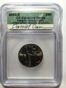 2001-D New York quarter with Daniel Carr's autograph on ICG label