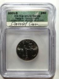 2000-D New York quarter with Daniel Carr's autograph on ICG label
