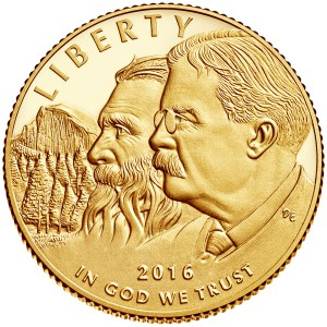 2016 National Park Service Centennial Commemorative with images of John Miur and Theodore Roosevelt
