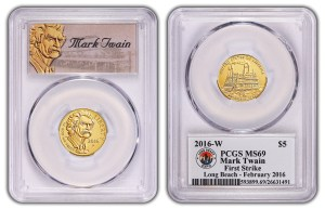 PCGS has produced special First Strike – Long Beach Expo labels for the new silver $1 and gold $5 (shown here) 2016 Mark Twain coins.