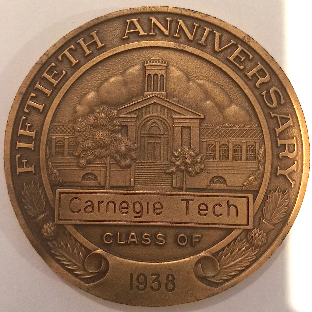 Reverse of the Carnegie Mellon University medal features Hamerschlag Hall and proclaims the 50th Anniversary reunion.
