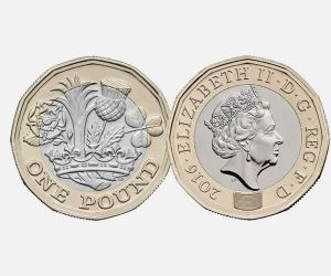 In 2017 the Royal Mint will issue a bi-metalic 12-sided coin with microprinting to combat counterfeiting.