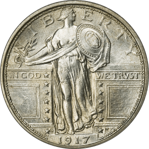 Obverse of a 1917-S Type 1 Standing Liberty Quarter with the date in the exergue.