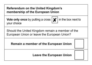 "Sample of the ballot that will be used for the EU Referendum ""Brexit"" vote"
