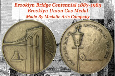 1983 Brooklyn Bridge Centennial Medal issued by Brooklyn Union Gas