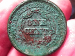 Large Cent with Verdigris