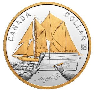 2021 Canada Bluenose Gold-Plated Silver Dollar