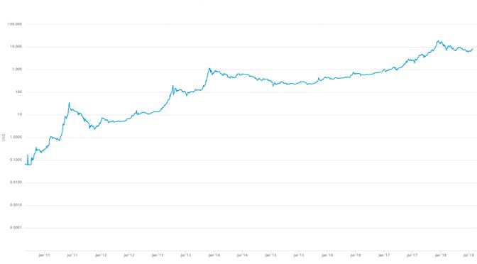 Bitcoin logarithmisch betrachtet