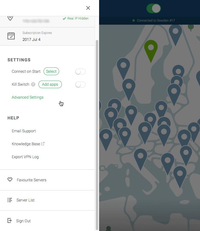 NordVPN settings panel