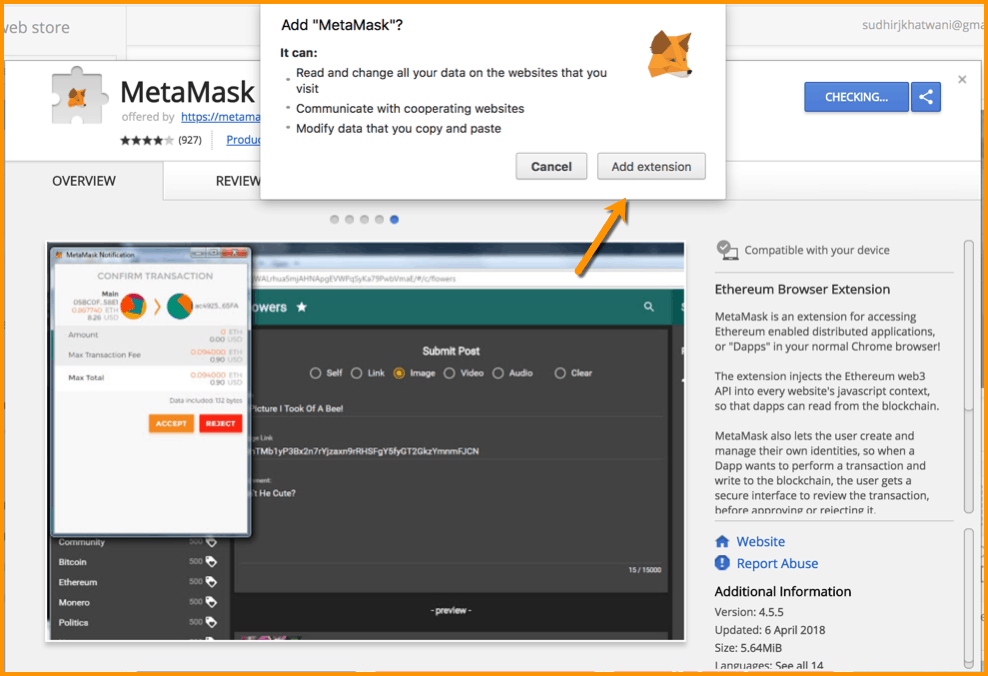 Install MetaMask chrome extension