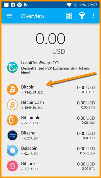 Bitcoin wallet in Coinomi