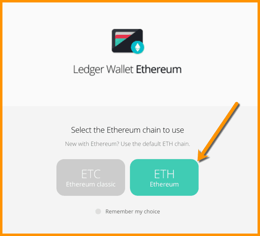 ETH on Ledger device