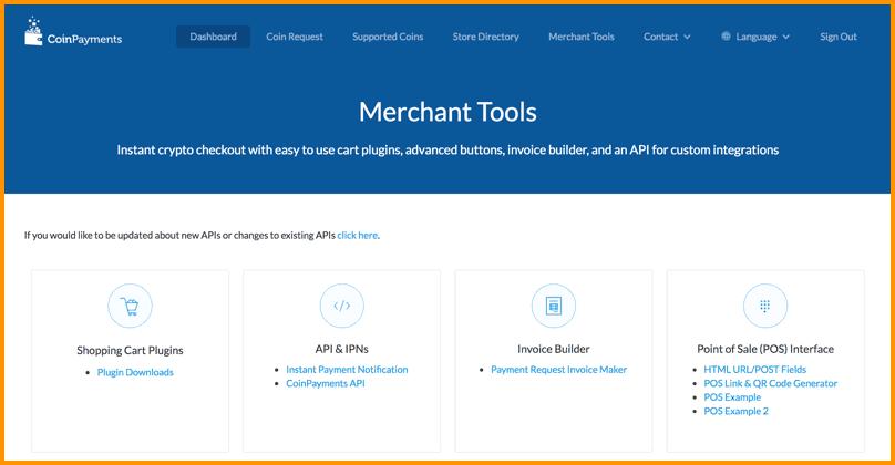 CoinPayments Merchant tools