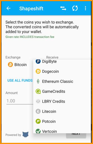 Coinomi In-built Exchanges