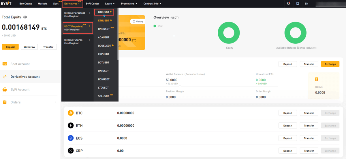 2. ByBit - Choose Contract
