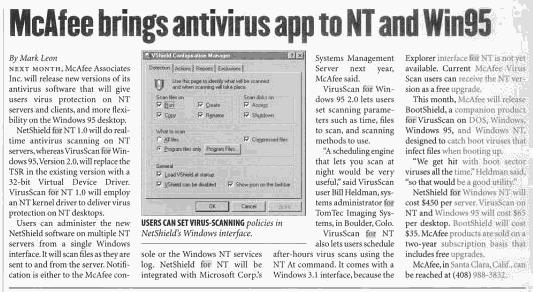 McAffee antivirus para anunciado para Windows NT