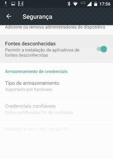 captura de tela Android - painel de configurações de segurança