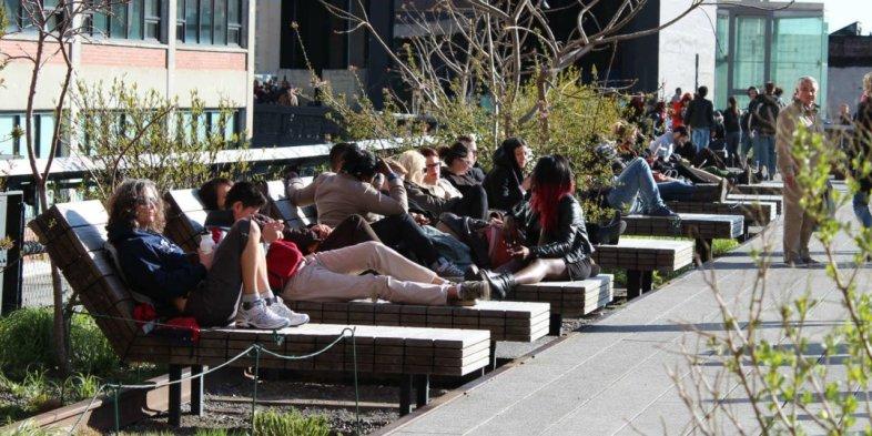 Espreguiçadeiras do High Line em NY