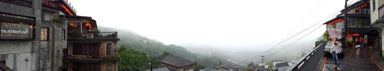 Panorâmica do belo cenário da Jiu Fen Old Street, próximo a Taipei